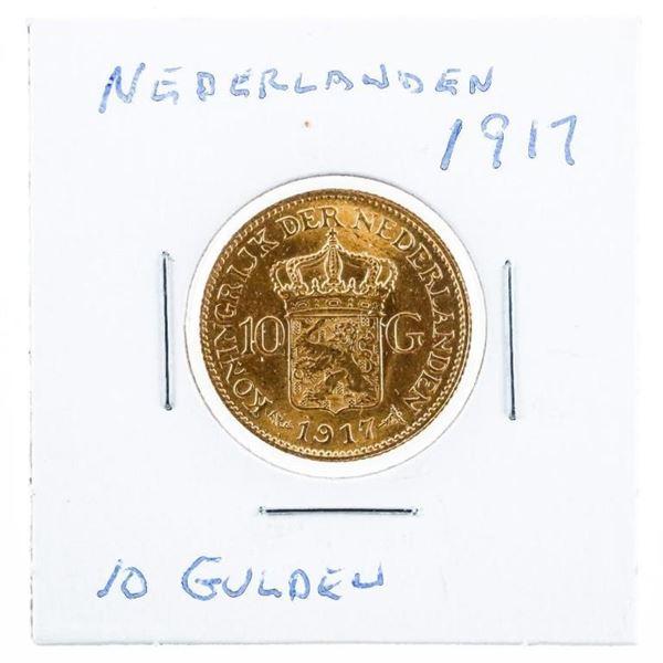 Nederlands 1917 10 Gulden Gold Coin