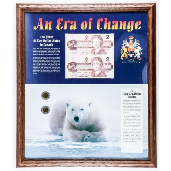 """Canadian Toonies and Two Dollar Notes -  Collector Frame Approx 16x20"""""""