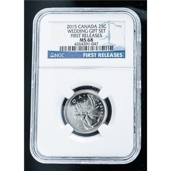 2015 Canada 25 Cents Wedding Gift Set First  Releases MS68 NGC