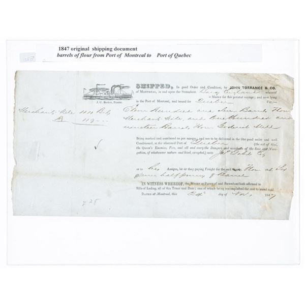 1847 Original Shipping Document Barrels of  Flour From Part of Quebec to Europe