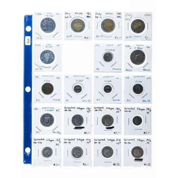 Grouping of 19 Coins of Italy,  Mexico,Netherlands,Switzerland ((11c-em)