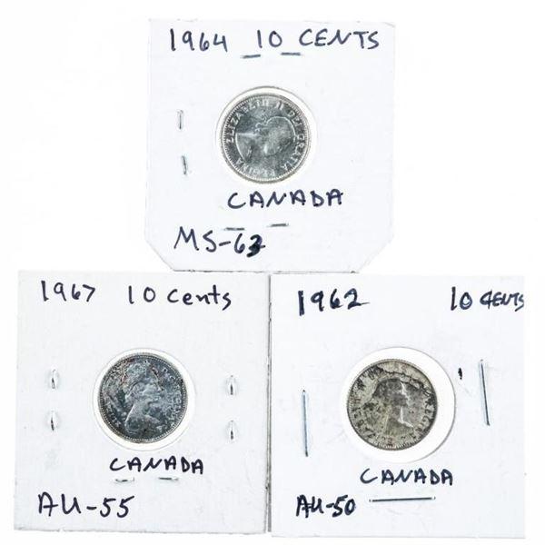 Lot (3) Canada Dimes: 1962, 1964, 1967