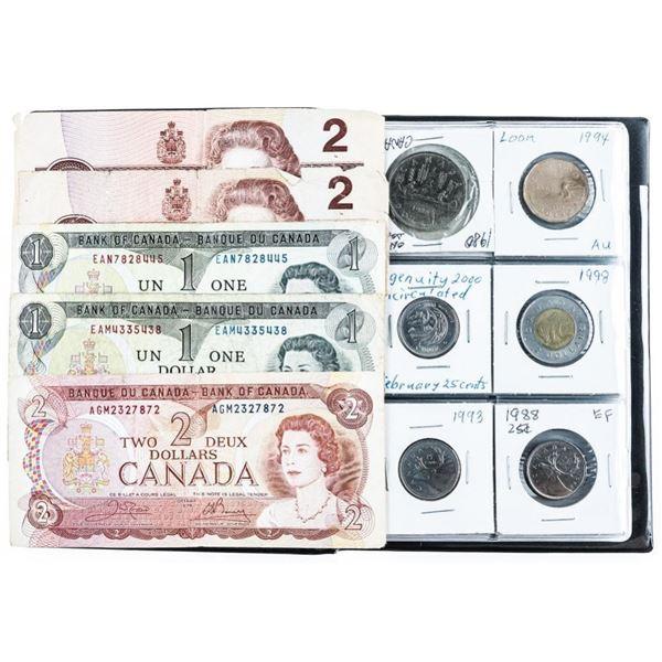Stock Coin Book w/24 Canada Coins, Includes  Silver & Bank Notes