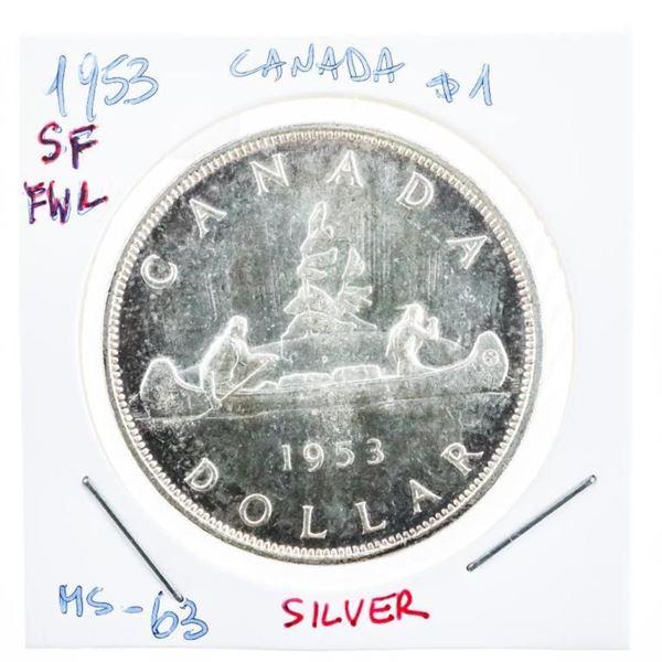 Canada 1953 Silver Dollar SF FWL MS 63  (8a-kr)
