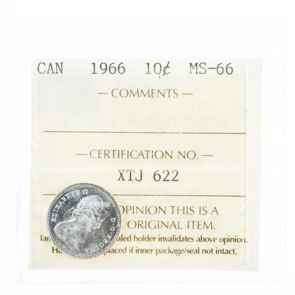 1966 Canada 10 Cents MS66. ICCS