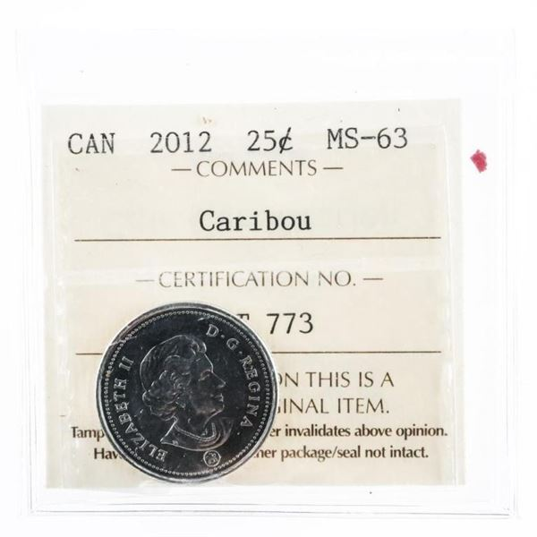 2012 Canada 25 Cents MS63 'Caribou'