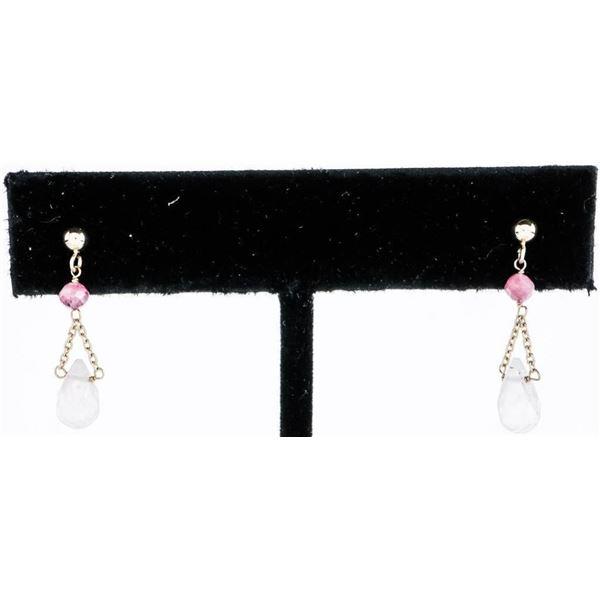 Ladies 14kt Yellow Gold Drop Earrings - 2  Bead Set Rose Quartz 1.16ct and 2 Natural  Pink Tourmalin