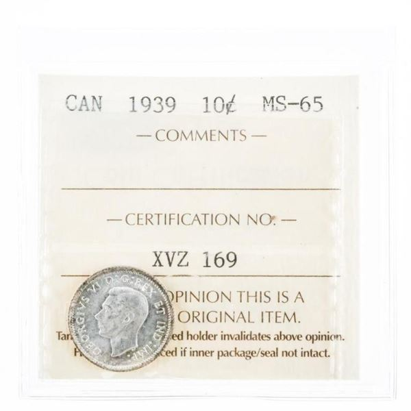 1939 Canada Silver 10 Cents. ICCS MS65.