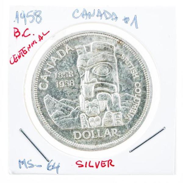 Canada 1958 Silver Dollar MS 64 (8a-ie(