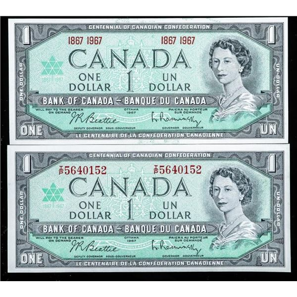 Group of (2) 1967-1967 UNC Bank of Canada  1.00 Serial and No Serial