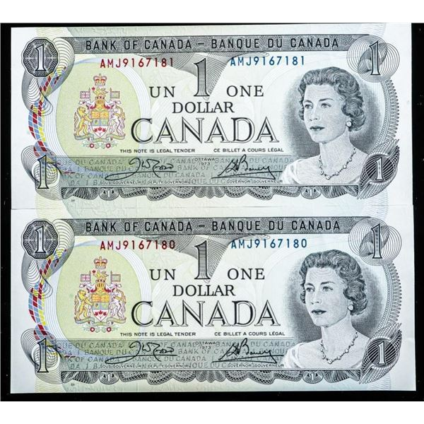 Lot (2) Bank of CANADA 1973 1.00 In Sequence