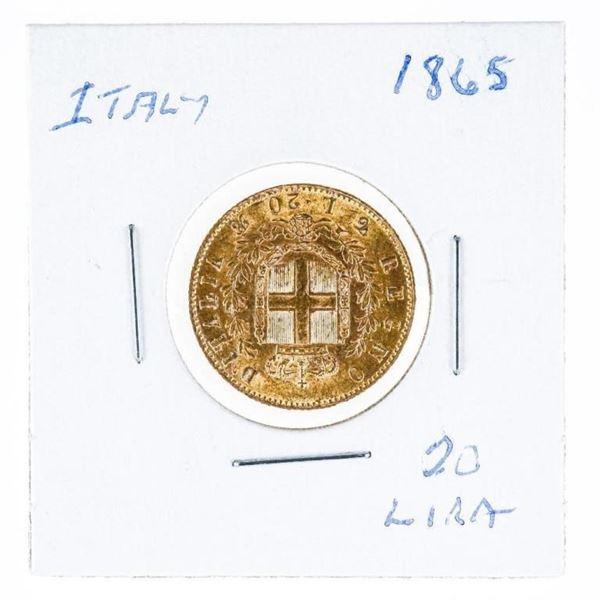 ITALY 1865 20 LIRA Gold Coin
