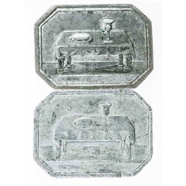 Lot (2) 1840s Undated Church Communion Tokens