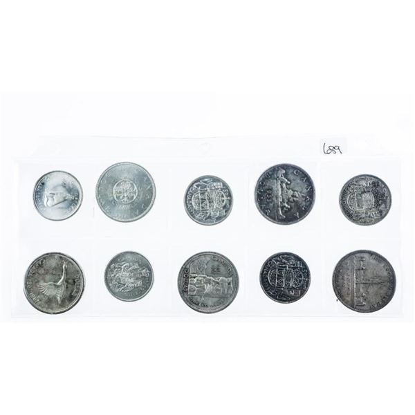 Group of (10) Canada Silver 50 Cents and  Matching Silver Dollar: 1939, 1953, 1958,  1964, 1967