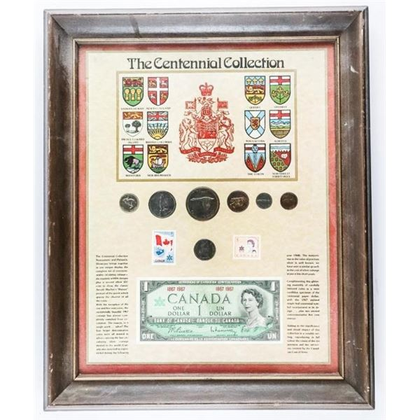 "Estate Centennial Collector Frame 16 x 20""  Approx w/ Coins & Banknote Issues 1867-1967"