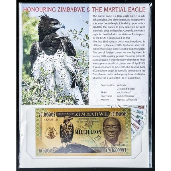 Zimbabwe Millillion 24kt Gold Gilded Note,  with 8x10 Giclee Art Card
