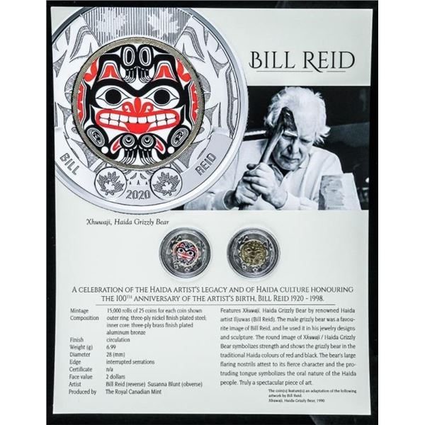 RCM - Celebration of Bill Reid 1920-1998  100th Anniversary Set Special Issue 2.00  Coins. One with