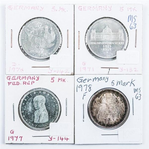 Germany Group (4) 1971, 1976, 1977, 1978 5  Mark Coins .6750 ASW