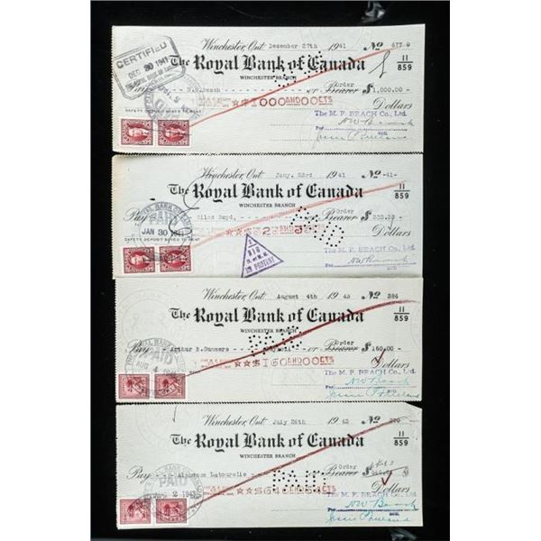 Lot of (4) Original Royal Bank of Canada  Cheques.