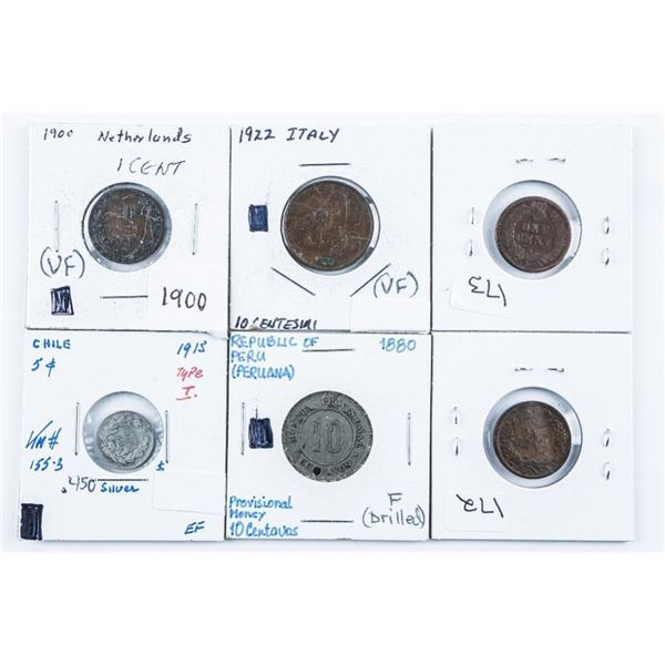 Group of (6) World Coins Mixed