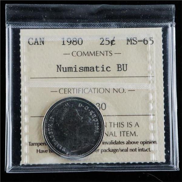 1980 Canada 25 Cent MS-65 Numismatic BU ICCS