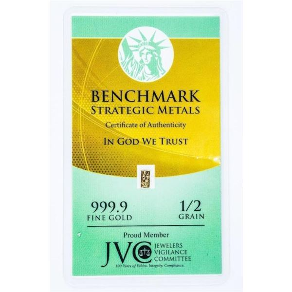 BSM 1/2 Grain .999 Fine Gold Bar with COA.