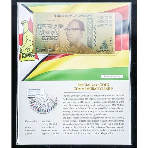 Reserve Bank of Zimbabwe Special 24kt Gold  Commemorative 100 Decillion Dollars