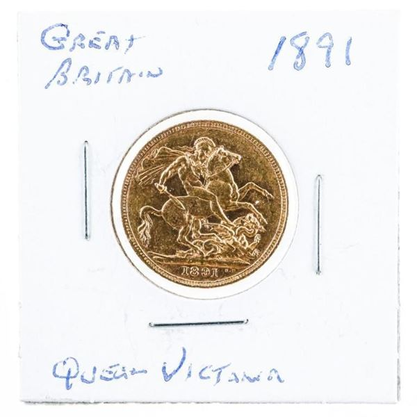 Great Britain 1891 Gold 'Queen Victoria'  Sovereign