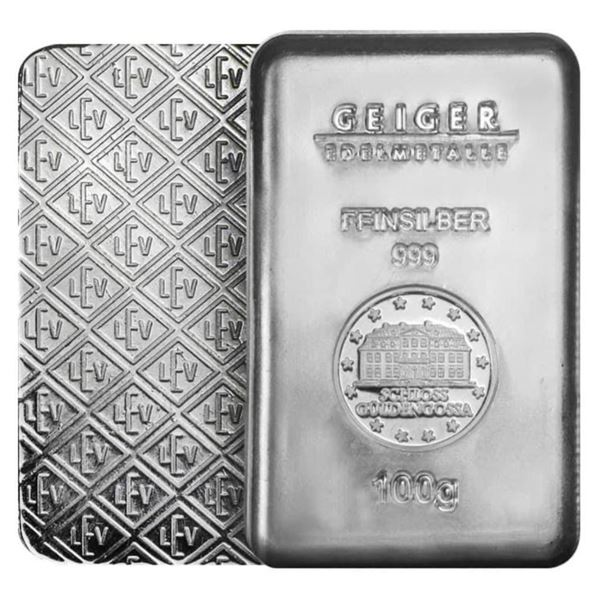 Geiger Germany .999 Fine Silver Brick, 100  Grams, Serialized, Scarce Collectible.