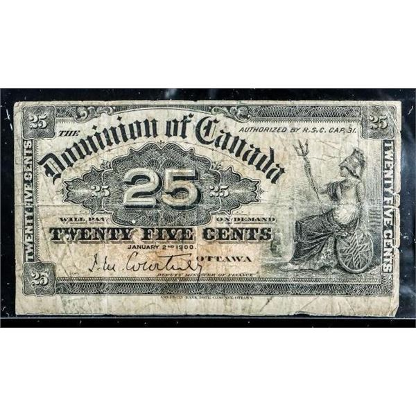 Dominion of Canada 1900 25 Cent Note  'Courtney) (515)