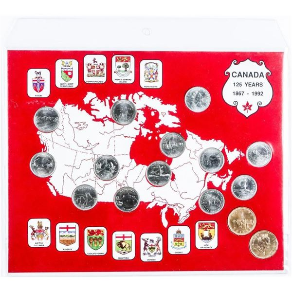 Canada 125 Years 1867-1992 Coin Collection On  Display Board (Colour Design)
