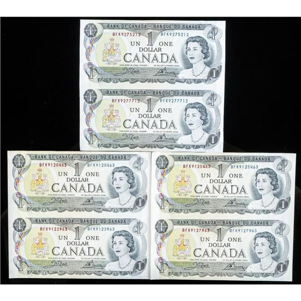 Lot 3 Uncut Sets of 2, Bank of Canada 1973 $1