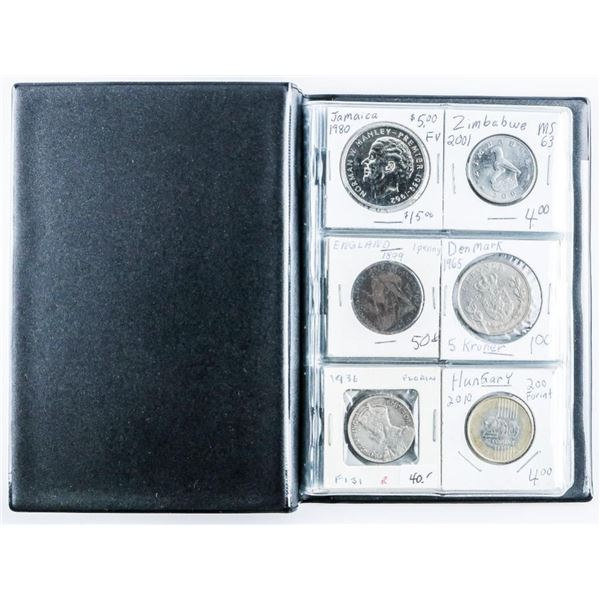 Coin Stock Book w/ 24 World Coins w/Silver