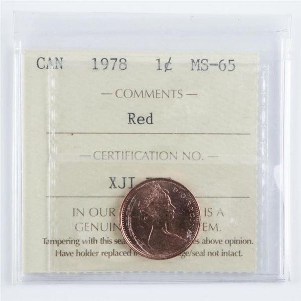 1978 Canada 1 Cent MS-65. ICCS.