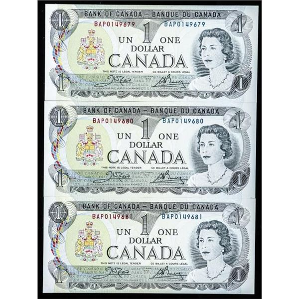 Lot (3) Bank of Canada 1973 $1.00 Choice UNC  in Sequence
