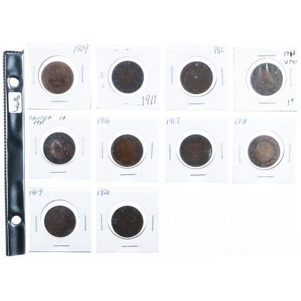 Group 10 Canada Large One Cent Coins  1909-1920