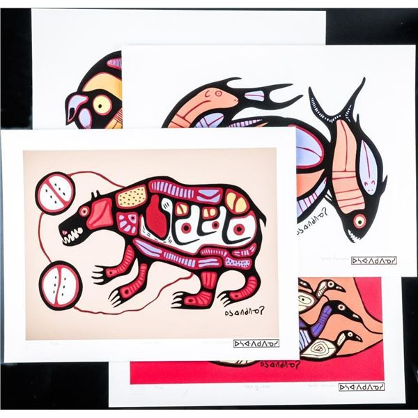 "Norval Morrisseau (1931-2007) 'A Shaman's  Vision' Folio with 4 Images 11x14"" Unframed.  Matched Edi"