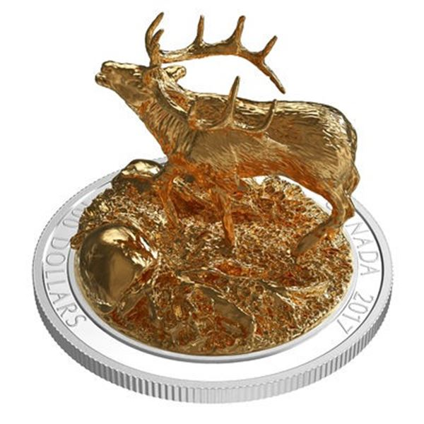Sold. Out - $100 Majestic Elk - Pure Silver Coin with 24kt Gold Overlay. NEW IN BOX.