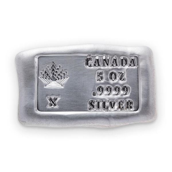 Canada's Maple Leaf .9999 Fine Silver 5oz  Bar. LBMA good-delivery list. (Delivery or  Pick Up in 7-