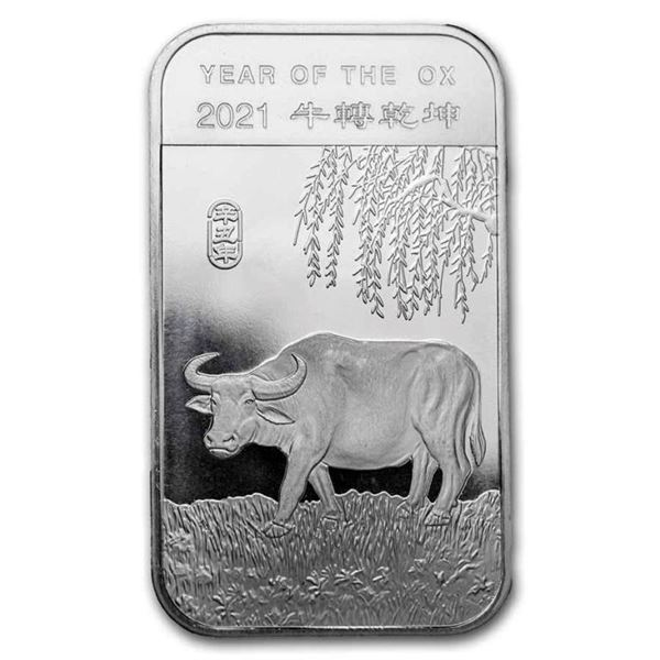 .999 Fine Silver Year of the Ox Bar with  Privy. Collectible.