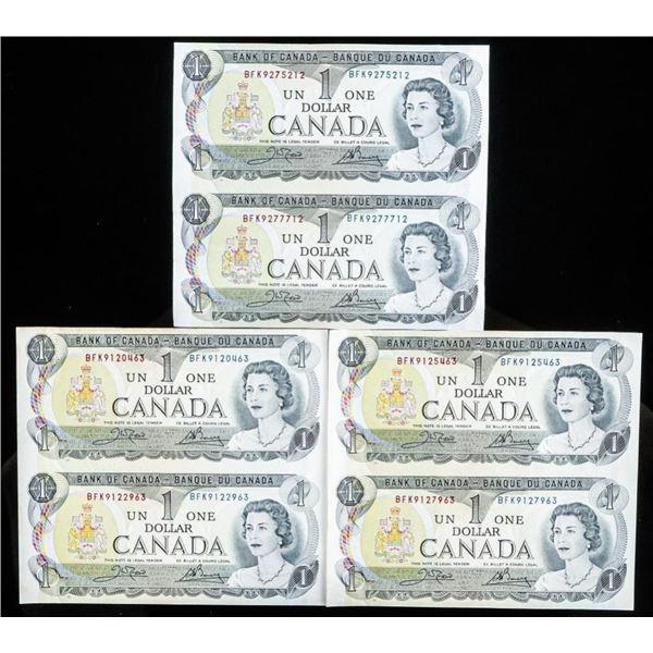 Lot 3 Uncut Sets of 2, Bank of Canada 1973 $1