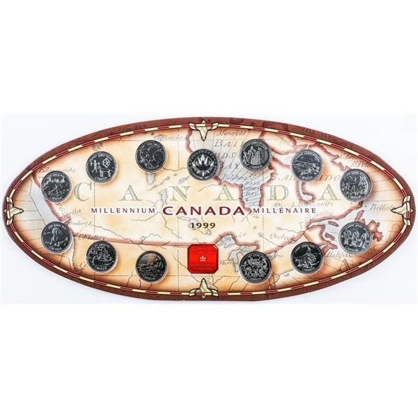 1999 Canada Millennium 25 Cent Collection on Displ