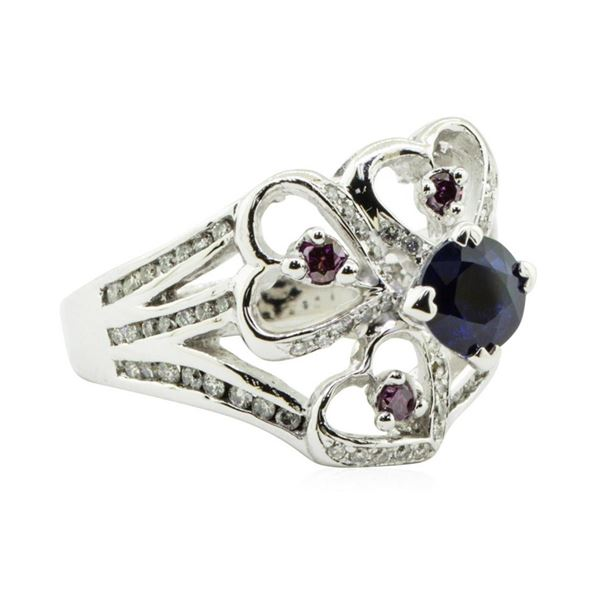 1.70 ctw Round Brilliant Blue Sapphire And Diamond Ring - 14KT White Gold