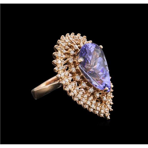 8.88 ctw Tanzanite and Diamond Ring - 14KT Rose Gold