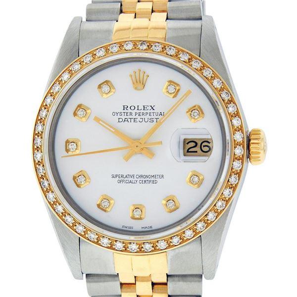 Rolex Mens 2 Tone White Diamond 36MM Datejust Wristwatch