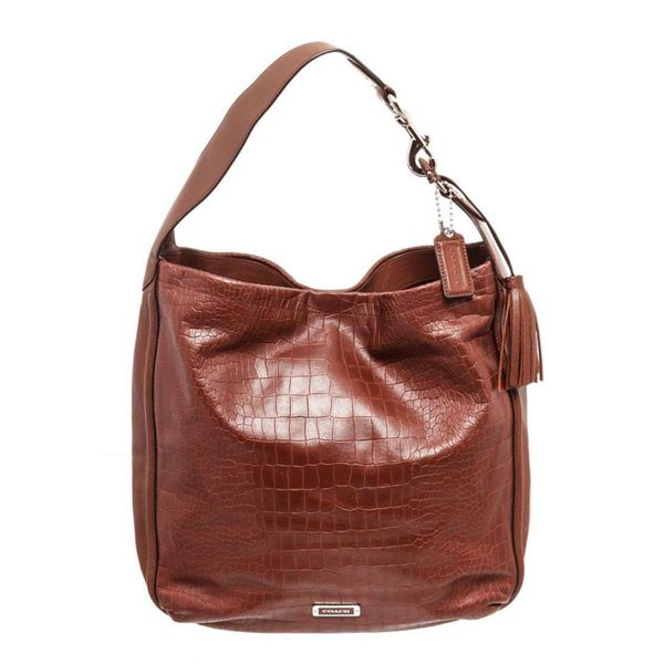 Coach Brown Leather Avery Embossed Satchel