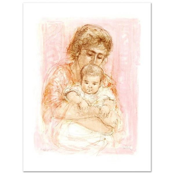 """""""Gina and Child"""" Limited Edition Lithograph by Edna Hibel (1917-2014), Numbered"""