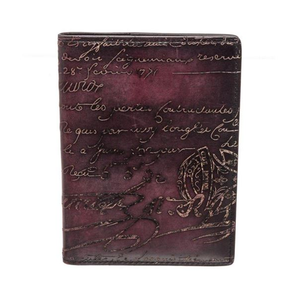 Berluti Burgundy Leather Passport Case