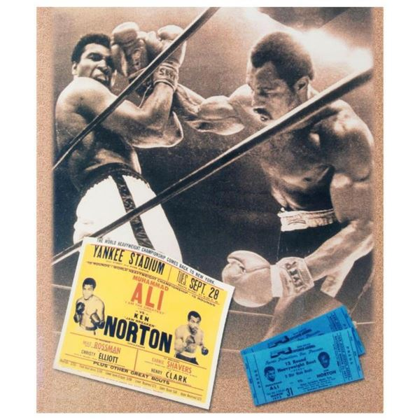 "Must-Have Signed Sports Photo Collage. ""Ken Norton and Ali Ticket"" Hand-Autograp"