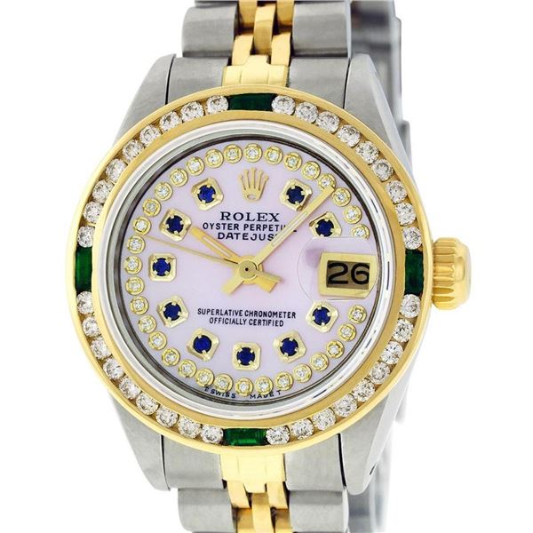 Rolex Ladies 2 Tone MOP Sapphire & Diamond, Emerald Datejust Wristwatch 26MM